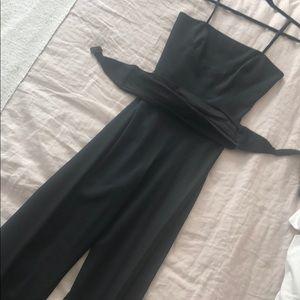 Elizabeth and James Black Belted Jumpsuit, Size 4